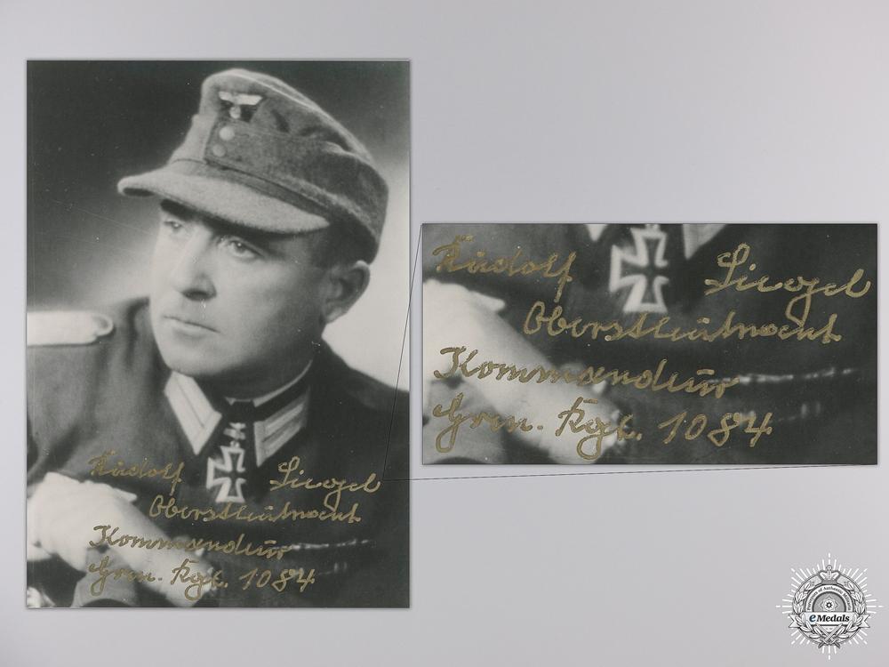 A Post War Signed Photograph of Knight's Cross Recipient; Siegel