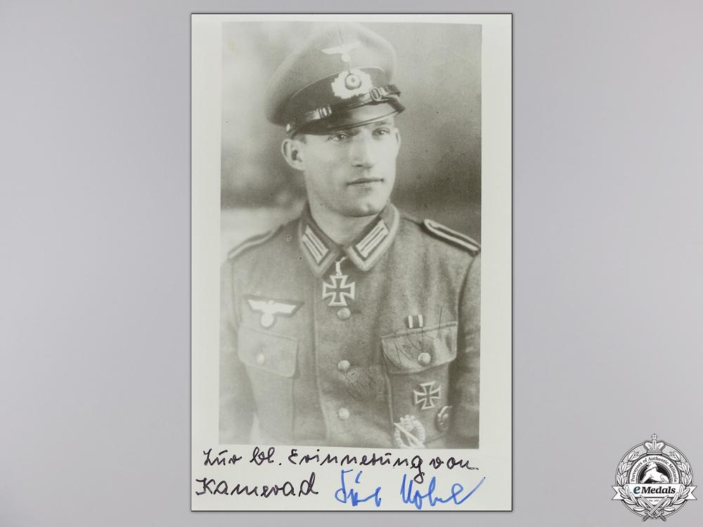 A Post War Signed Photograph of Knight's Cross Recipient; Nöbel