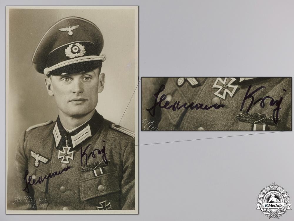 A Post War Signed Photograph of Knight's Cross Recipient; Krey