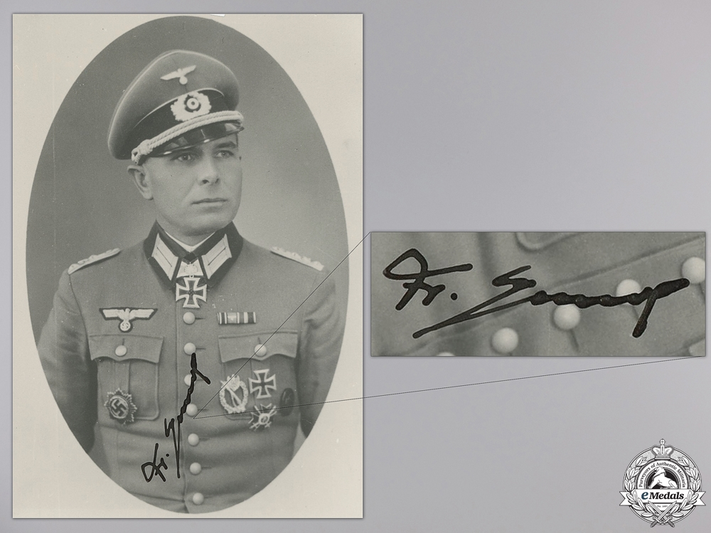 A Post War Signed Photograph of Knight's Cross Recipient; Jakob