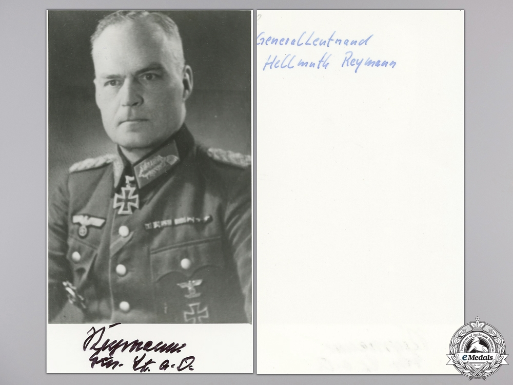 A Post War Signed Photograph of Knight's Cross Recipient; Reymann