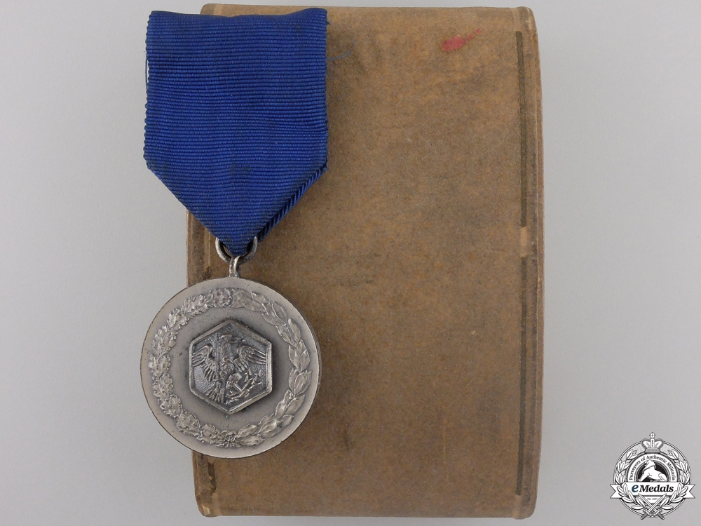 A Prussian Fire Service Long Service Medal with Case