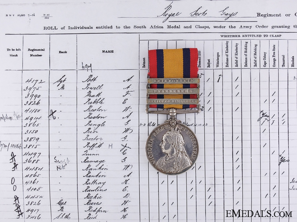 A Queen's South Africa Medal to the Scott's Greys D.O.D.