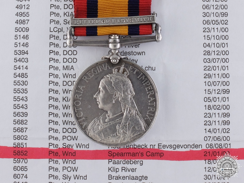 A Queen's South Africa Medal; Wounded at Flat-Topped Hill