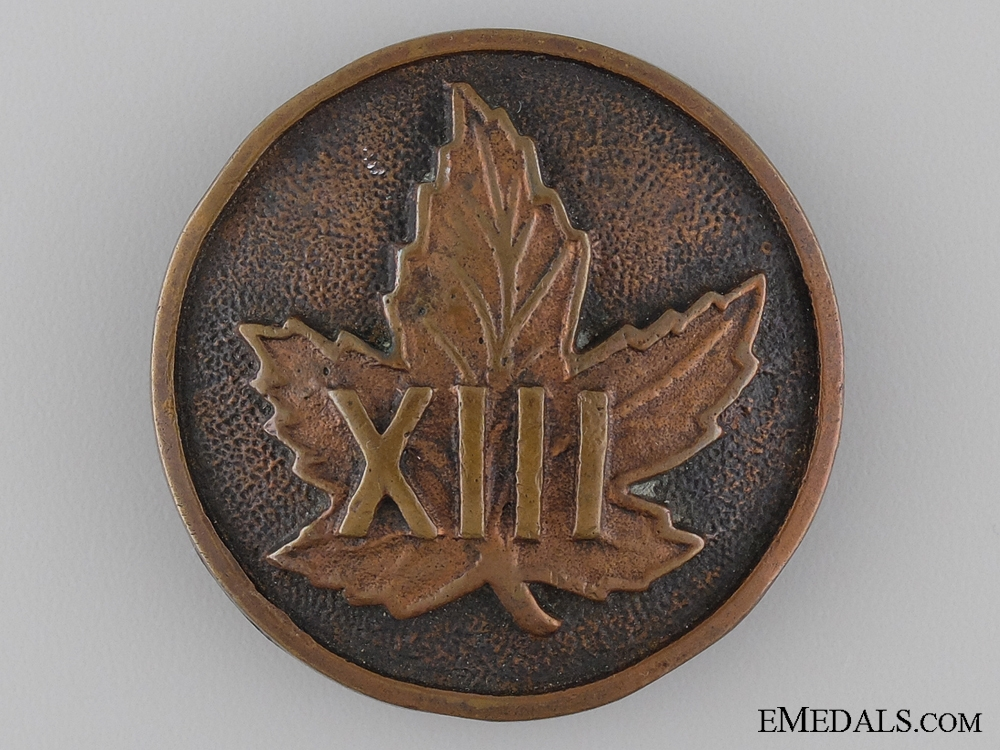 A Rare 13th Canadian Militia Shoulder Belt Plate