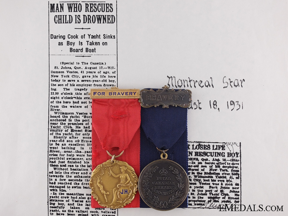 A Rare 1931 Royal Canadian Humane Association Bravery Pair