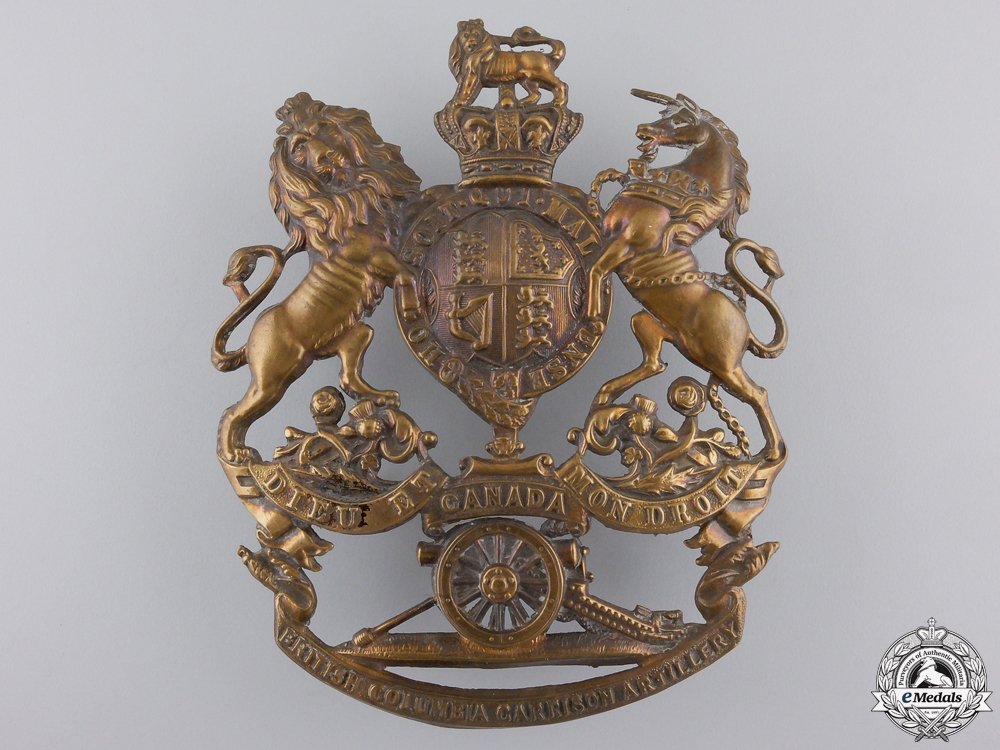 A Rare British Columbia Garrison Artillery Helmet Plate