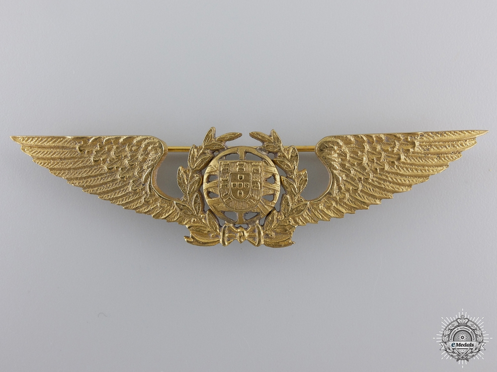 A Rare Second War Portuguese Gold Grade Officer's Pilot Wings