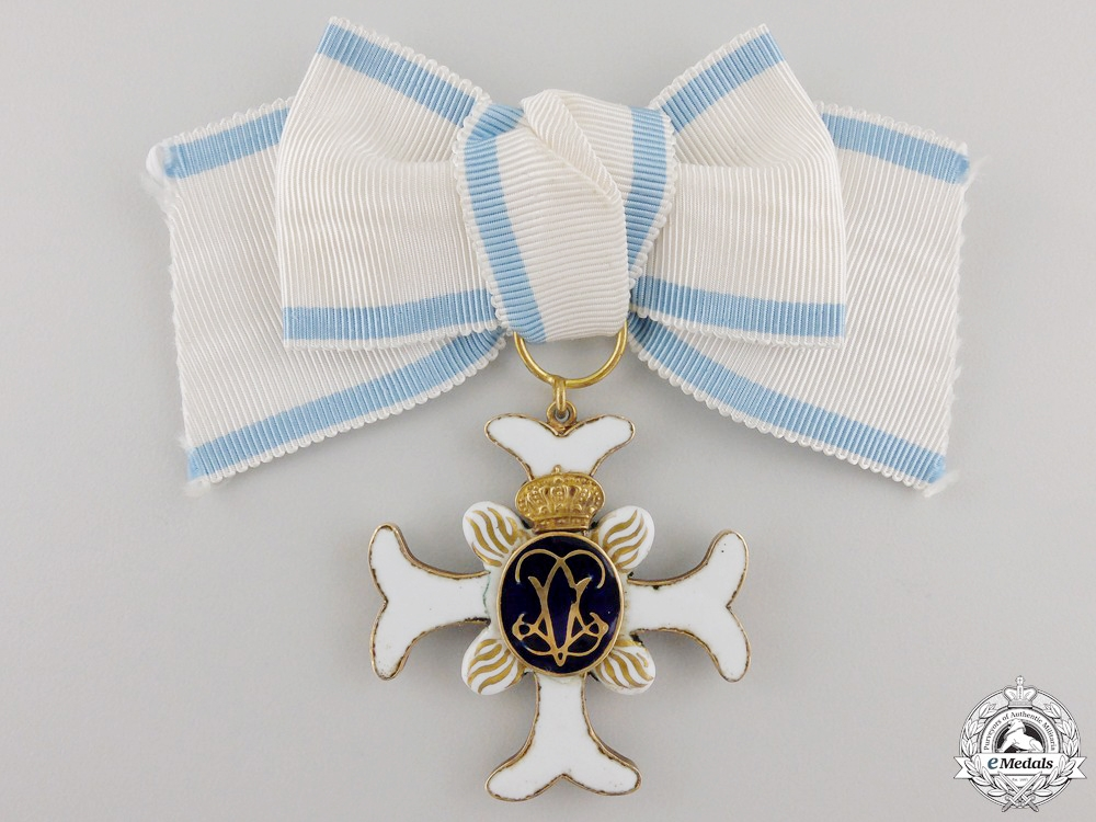 A Rare Swedish Order of Vadstena Adliga; Ladies Cross in Gold