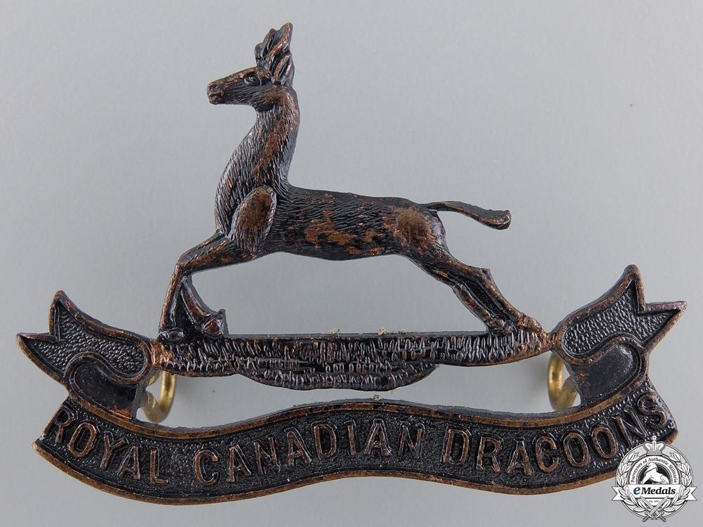 A Royal Canadian Dragoons Officer's Cap Badge