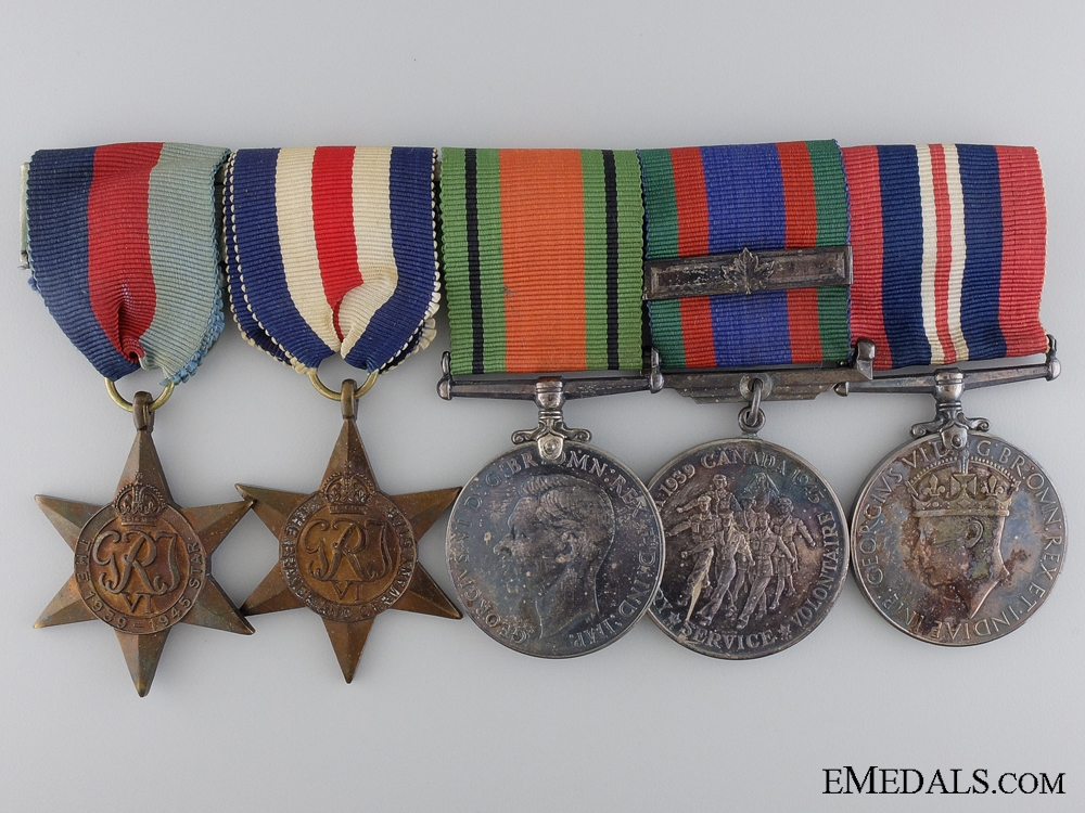 A Second War Canadian Medal Bar; European Theatre
