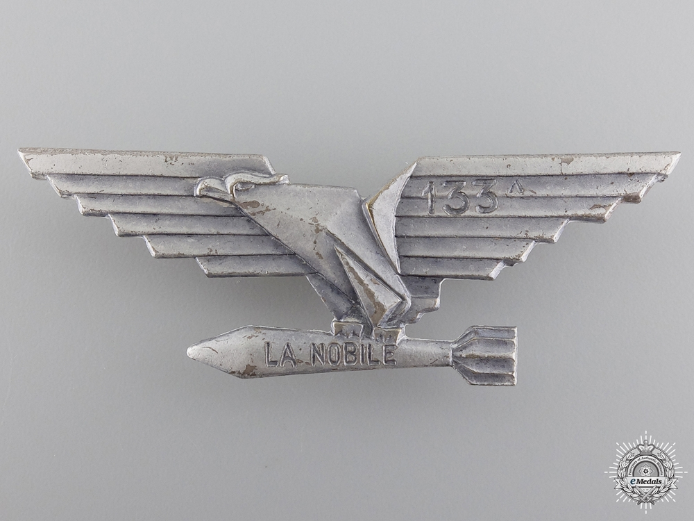 "A Second War Italian Torpedo Bombing Group ""La Nobile 133A"" Badge"