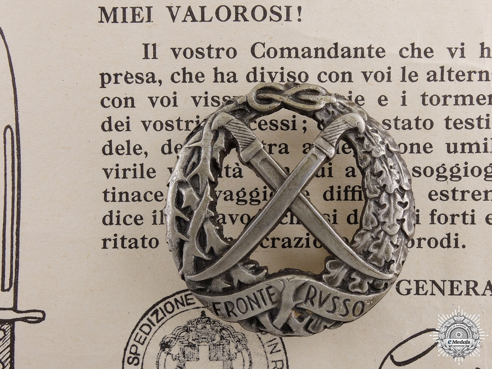 A Second War Italian Russian Front Honour Badge and Award Document