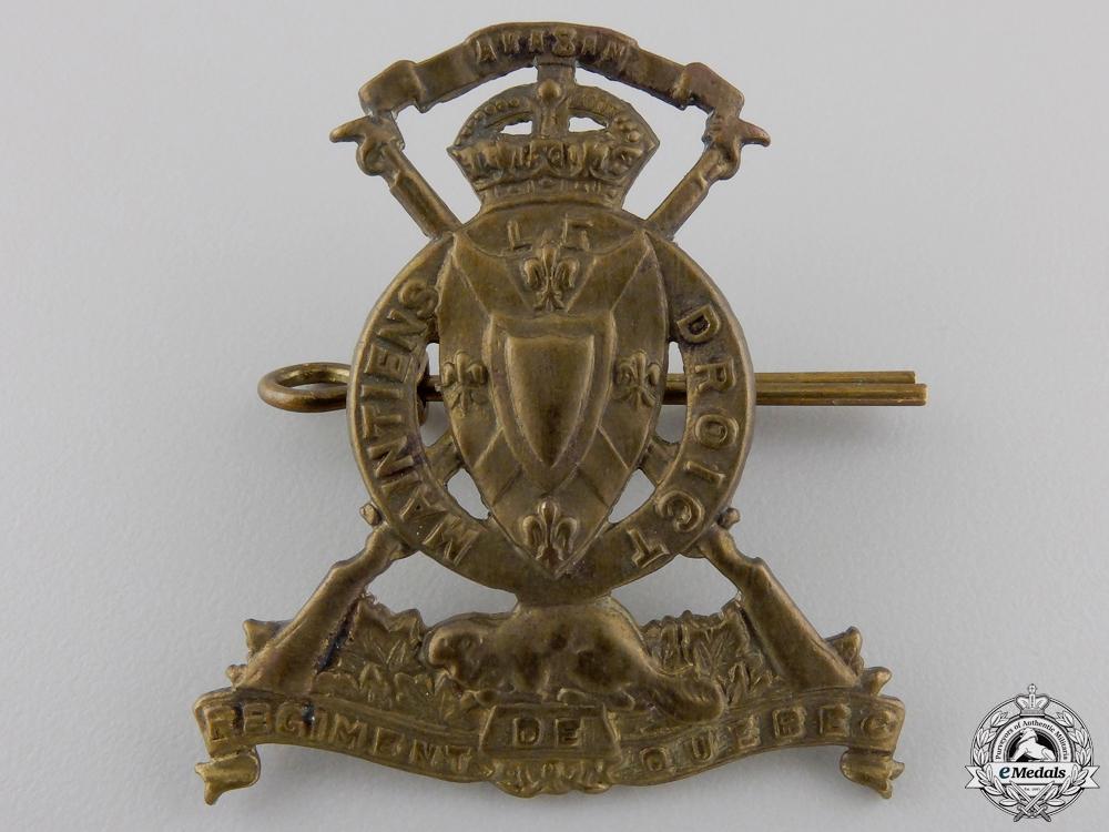 A Second War Le Régiment de QuebecCap Badge