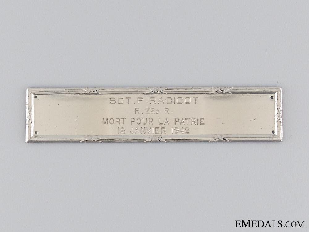 A Second War Memorial Birks Bar to the Royal 22nd Regiment
