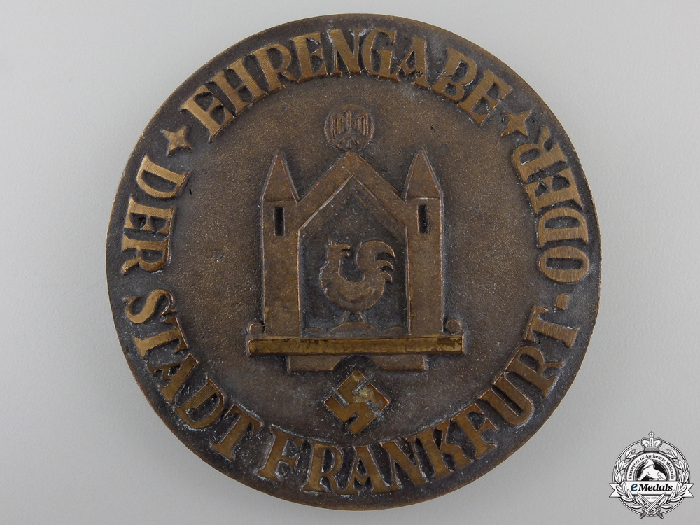A Second War Period City of Frankfurt Honour Award with Case