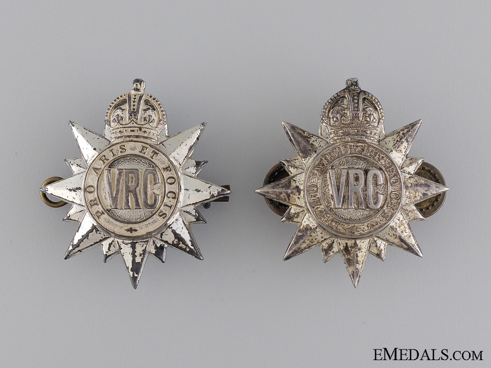 A Set of 3rd Regiment; Victoria Rifles of Canada Officer's Collar Badges