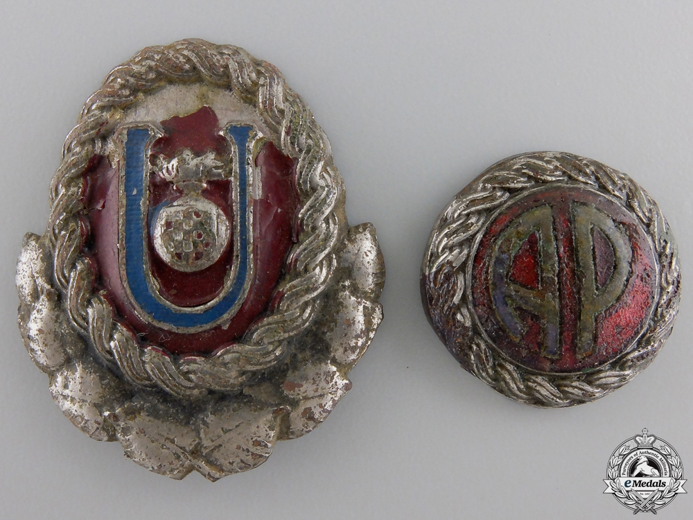 A Set of WWII Croatian Ustasha Officer's Cap Insignia