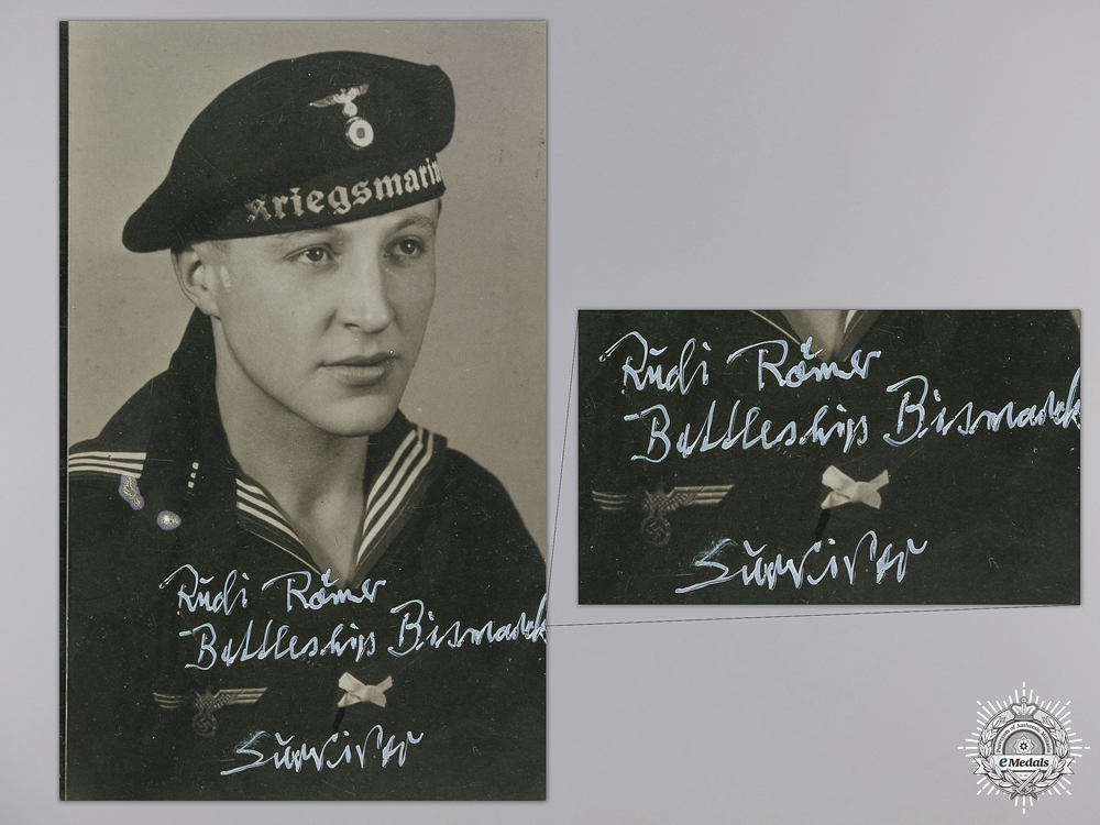 A Signed Photograph of Rudolf Römer; Bismarck Survivor