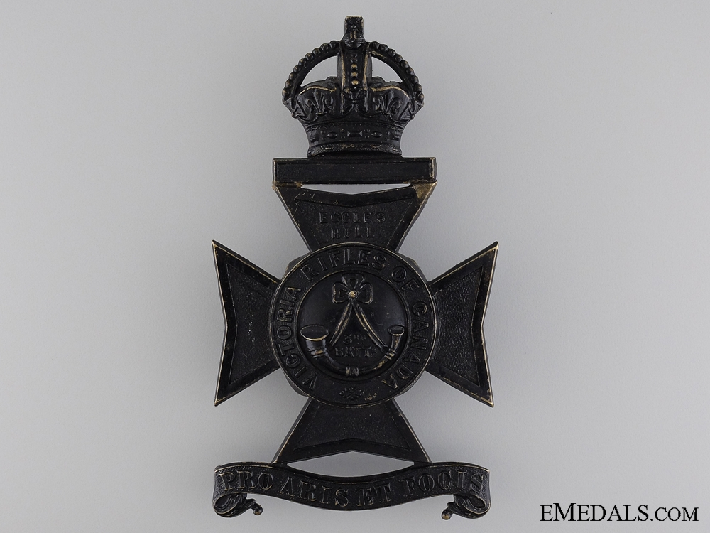 A Victorian 3rd Regiment; Victoria Rifles of Canada Helmet Plate