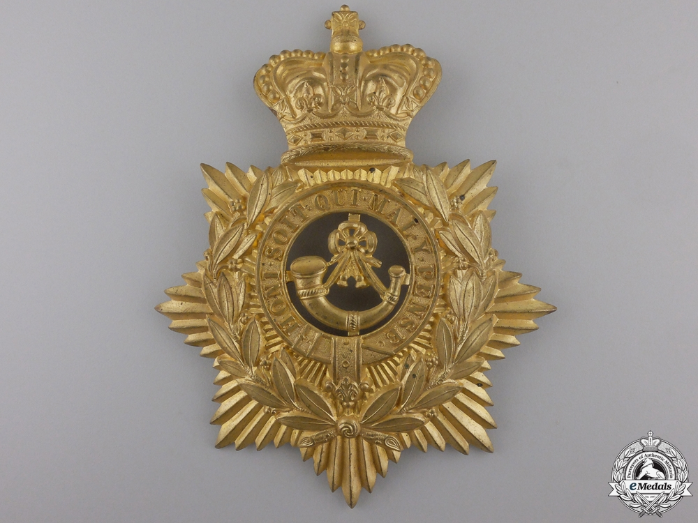 A Victorian Oxfordshire Light Infantry Helmet Plate