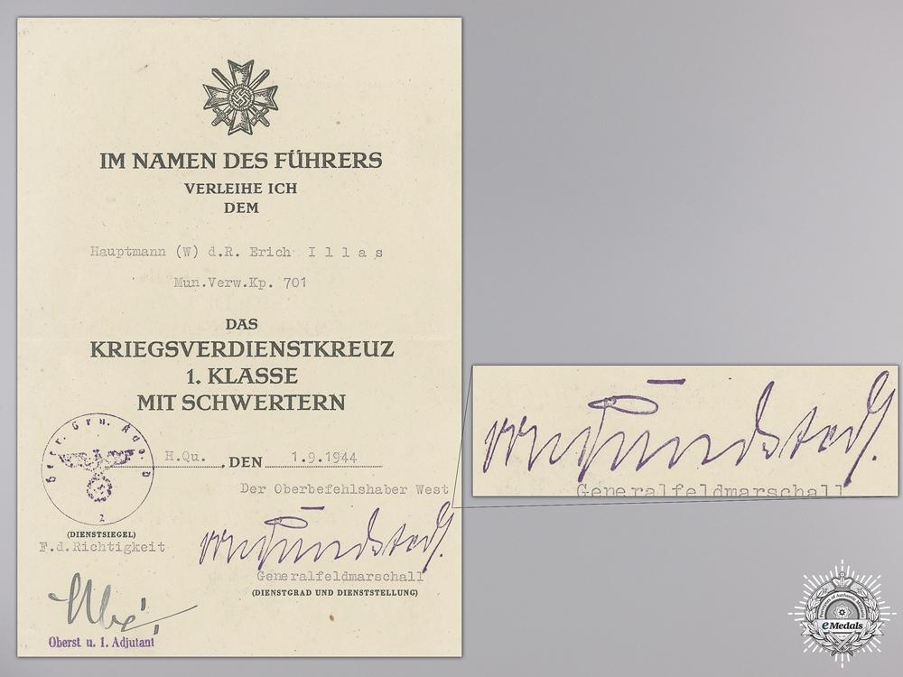 A War Merit Cross 1st Class 1939 Document to Munitions Administration
