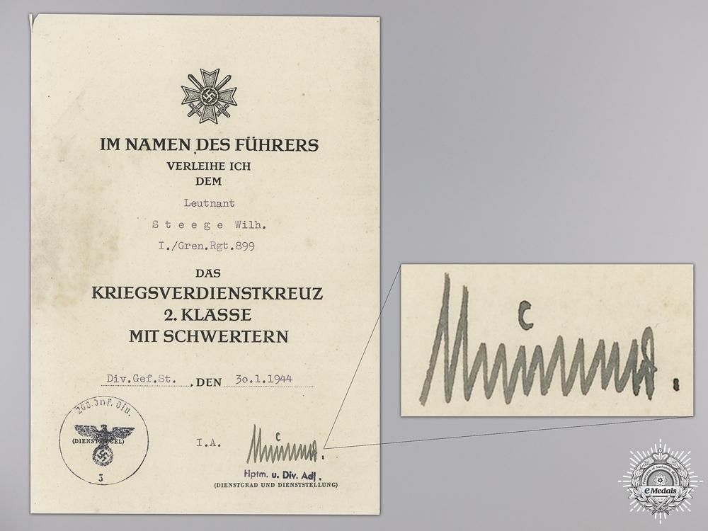 A War Merit Cross 2nd Class 1939 Document to Grenadier Leutnant