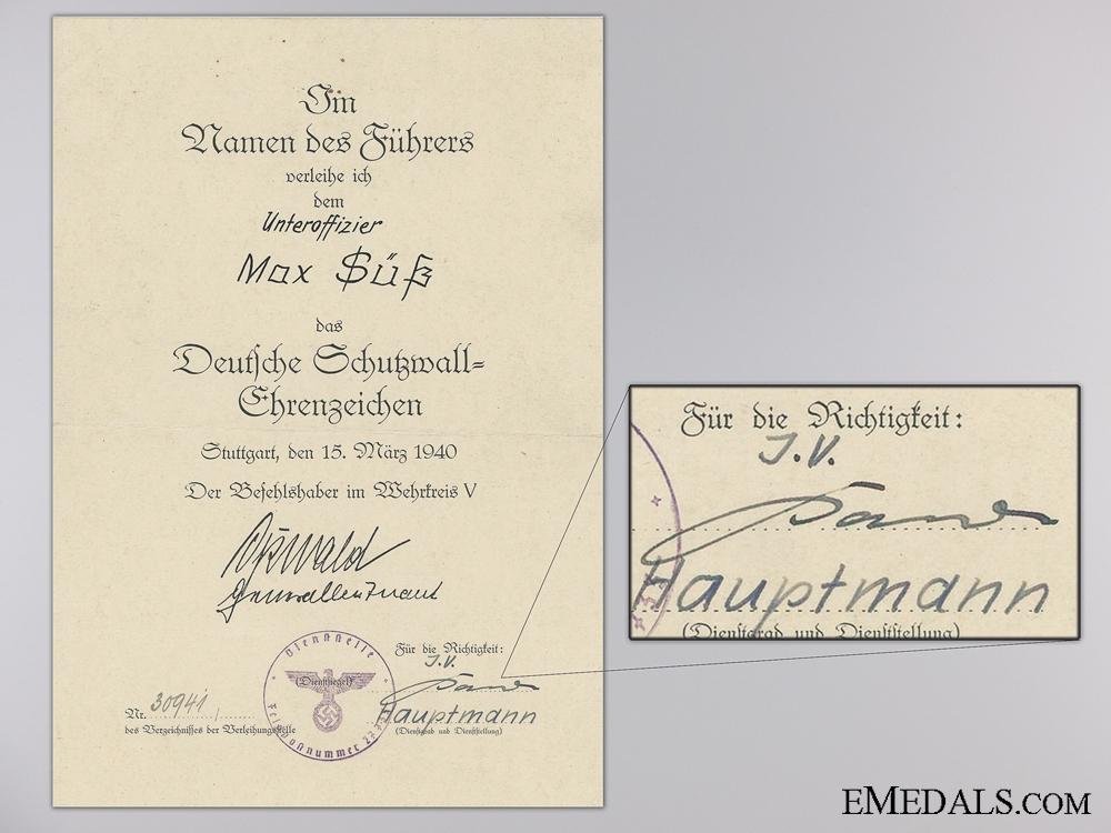 A West Wall Award Document 1940