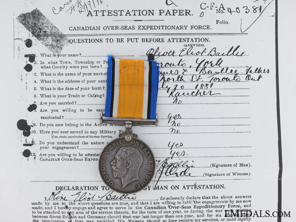 A WWI War Medal to 2nd Lieut. Baillie  1st Brigade C.F.A.
