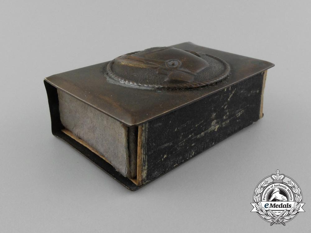"""A First War Pickelhaube """"Souvenir of France"""" Commemorative Matchbox Cover"""