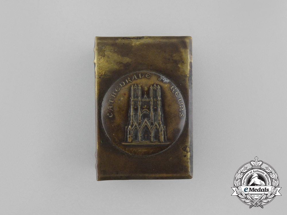 """A First War French """"Reims Cathedral"""" Commemorative Matchbox Cover"""
