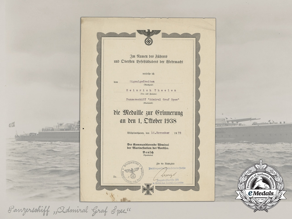 An Award Document for a Sudetenland Medal To Heinrich Theelen of the Admiral Graf Spee