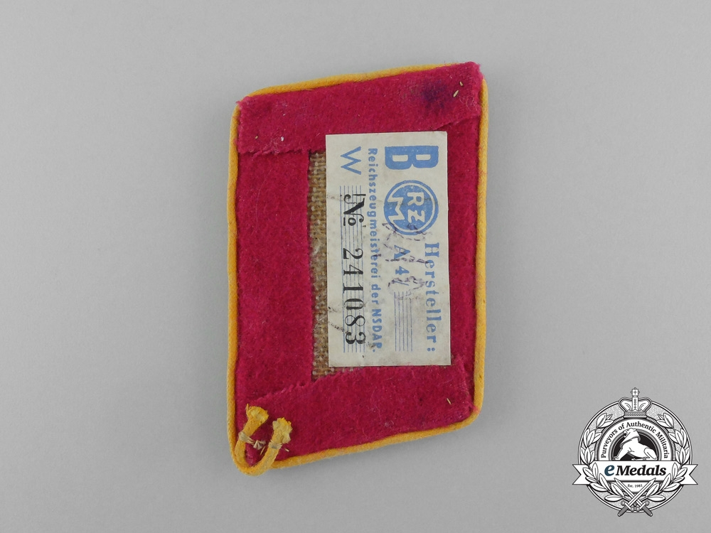 A Single NSDAP Befehlsleiter Collar Tab; RZM Tagged