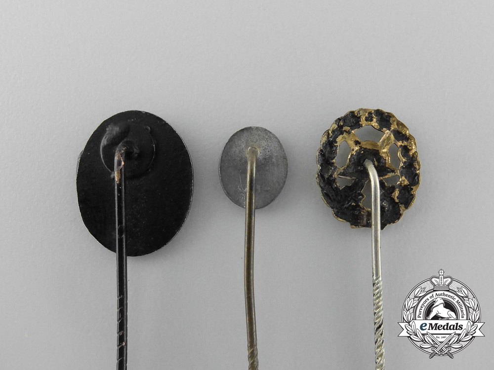 Germany, Heer. Three Miniature First &  Second War German Wound Badge Stick Pins