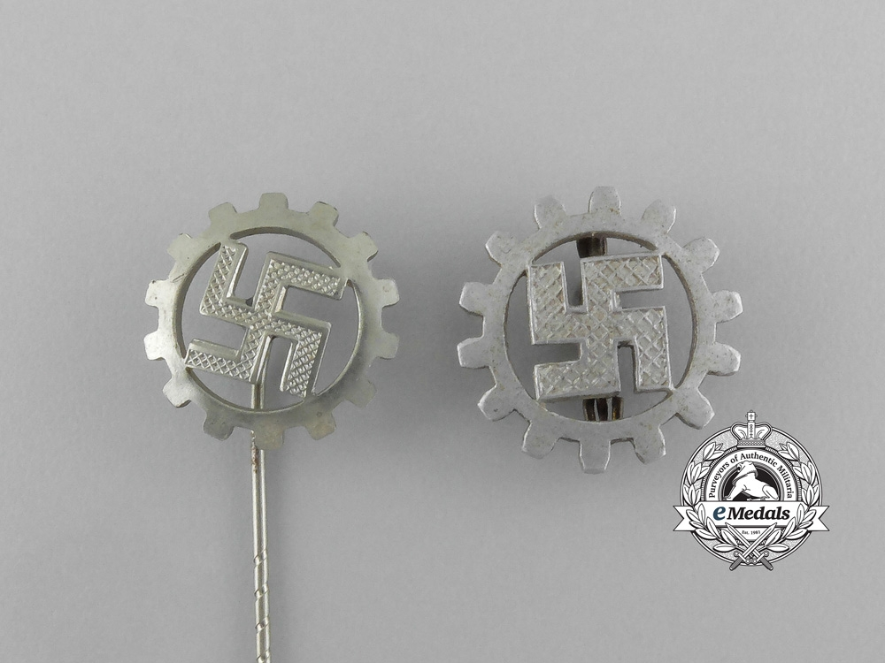 A Grouping of Two DAF (German Labour Front) Membership Badges and Stick Pins