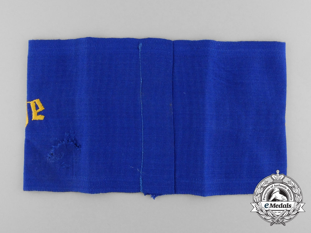 A Rare East District Coastal Watch Police (Danzig/Prussia) Armband