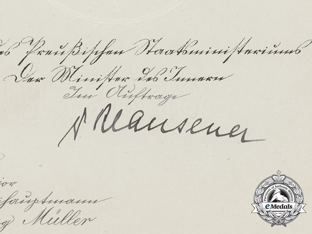 Prussia, Imperial. A Group of Early Career Documents to Colonel Hans Ludwig Müller
