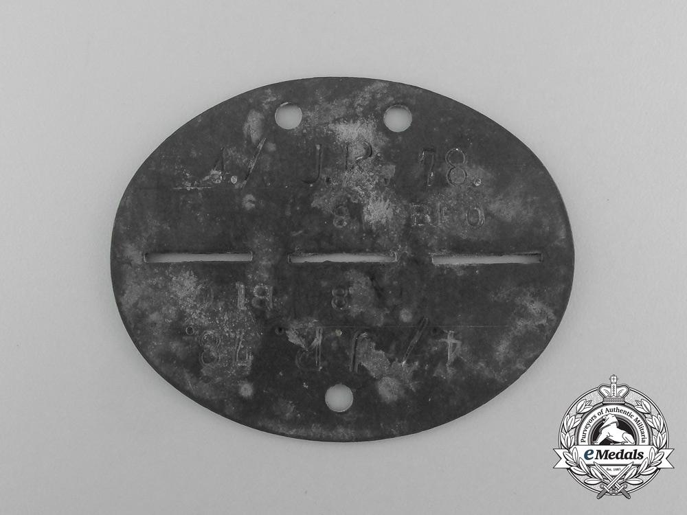 A Second War German 4th Jäger Regiment 78 Identification Tag