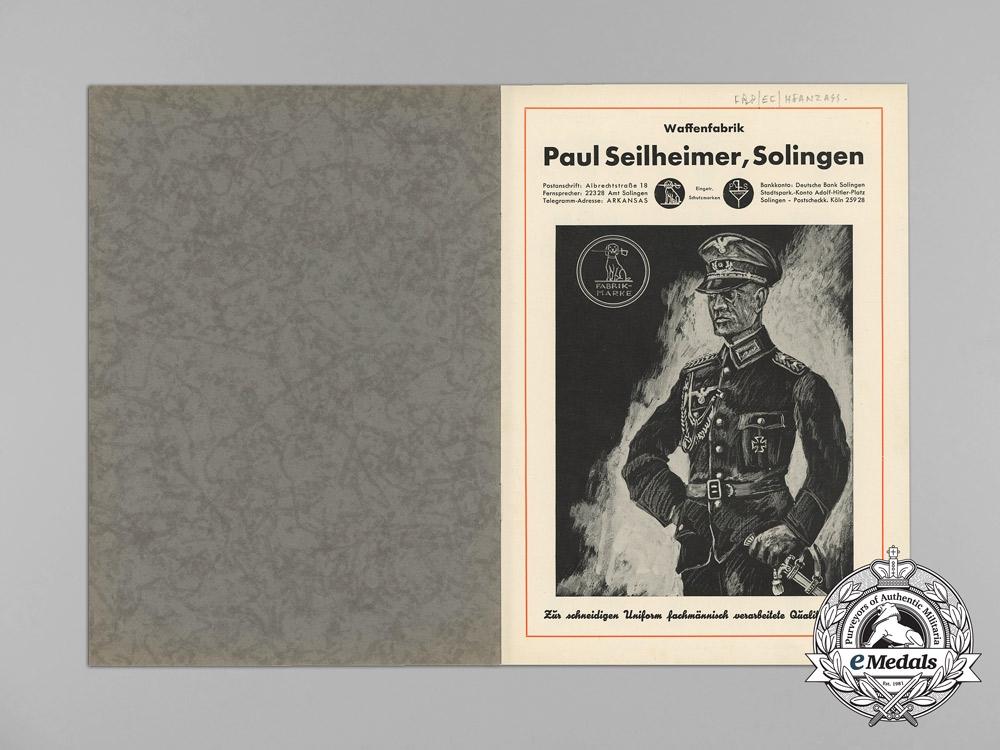 A Sword and Dagger Catalog of Waffenfabrik Paul Seilheimer of Solingen