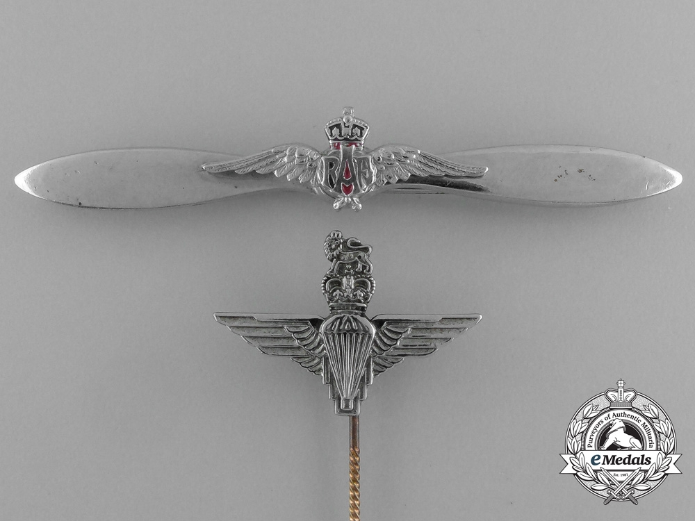 Two British Badges; Parachute Regiment and Royal Air Force