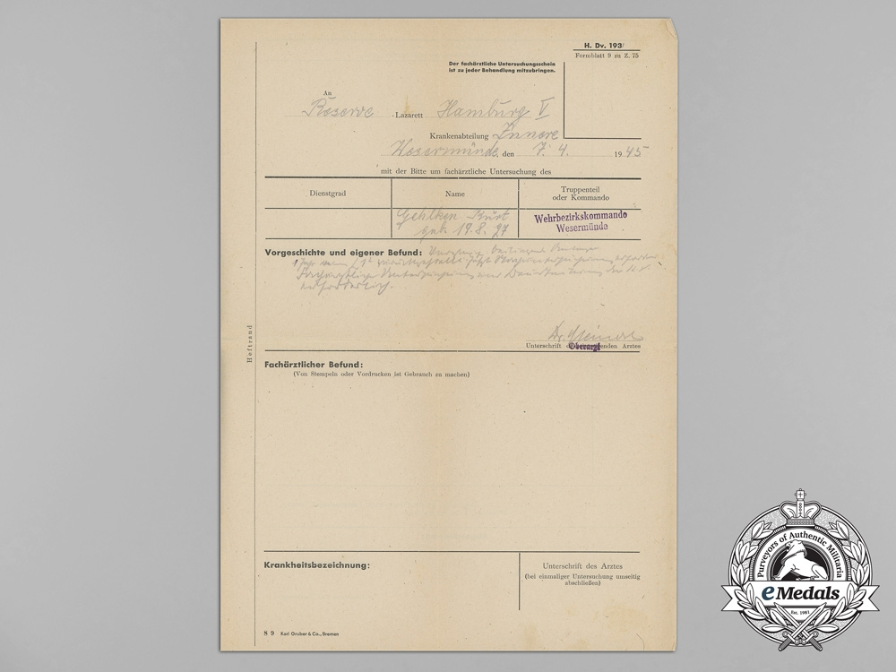 1944 Medical Papers & Documents Wehrmacht Signals Battalion