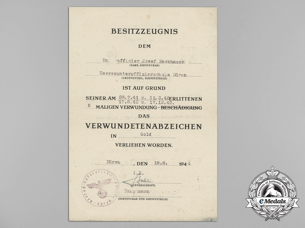 Germany, Heer. A Gold Grade Wound Badge & EK Group to Hauptmann POW of 473rd Grenadiers