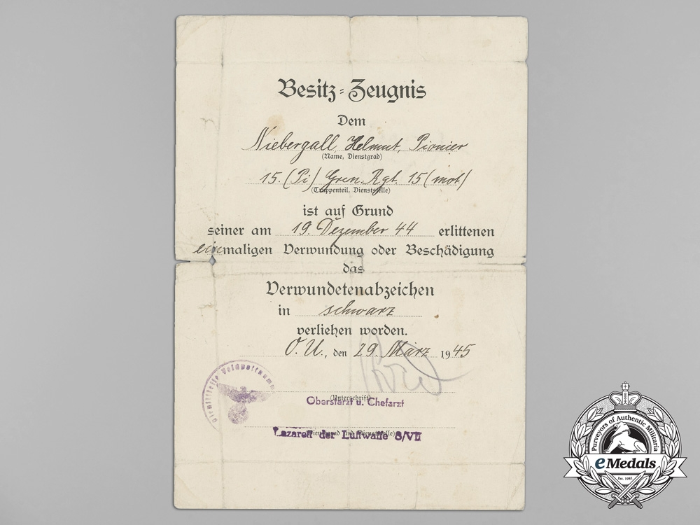 Germany, Heer. A 1944 Wound Badge Award Document to Grenadier Regiment 15