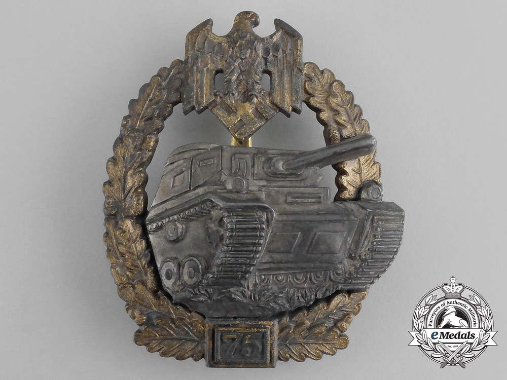 Germany, Wehrmacht. A Special Grade Tank Badge for 75 Panzer Engagements by Josef Feix & Söhne