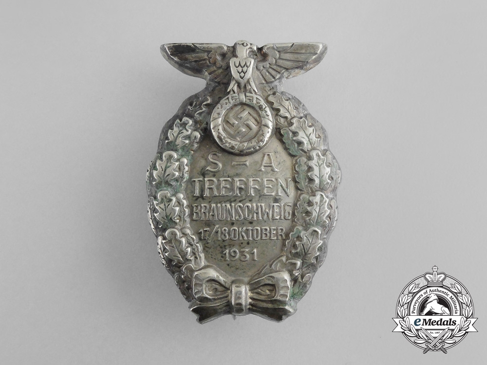 A Very Early SA Meeting Badge to a 1931 SS Member
