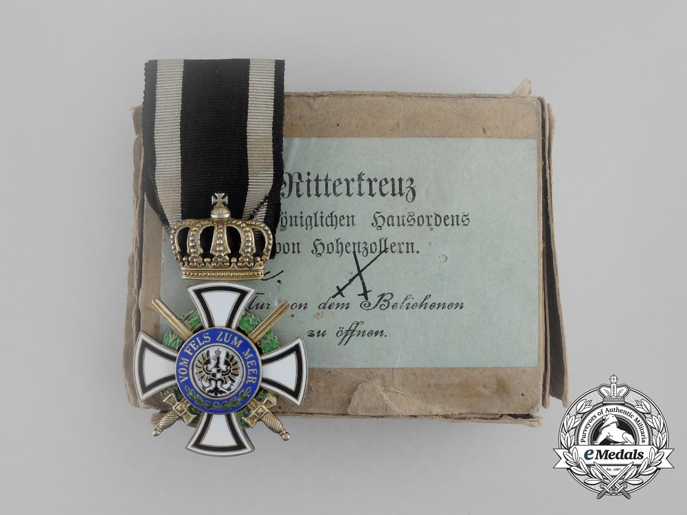 A Prussian House Order of Hohenzollern; Knight's Cross with Swords by Wagner