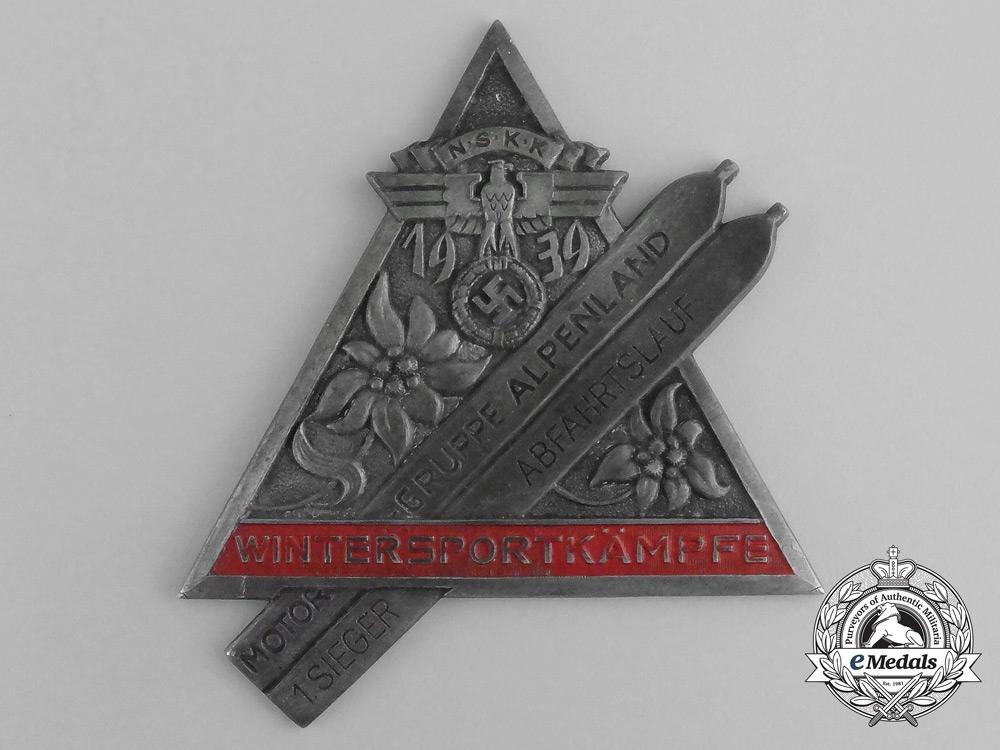 A 1939 NSKK Motor Group Alpenland 1st Prize Ski Downhill Race Table Medal