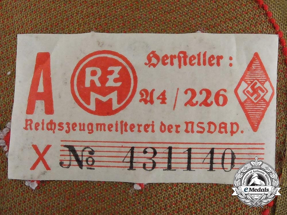 Germany. A General DJ NCO Rank Sleeve Patch; RZM Tagged