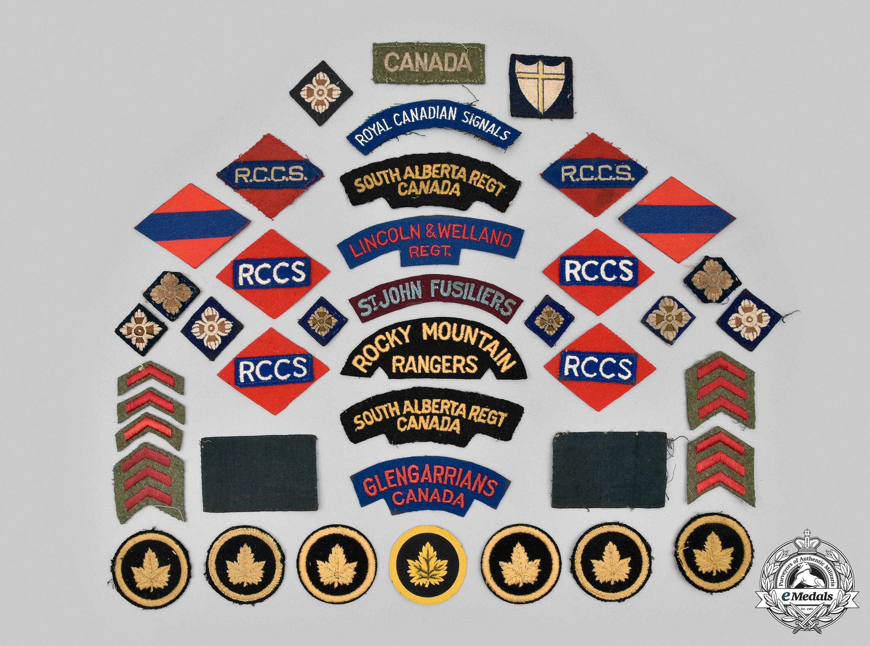 Canada, Commonwealth. A Lot of Forty-Nine Second War Cloth Canadian Army Items