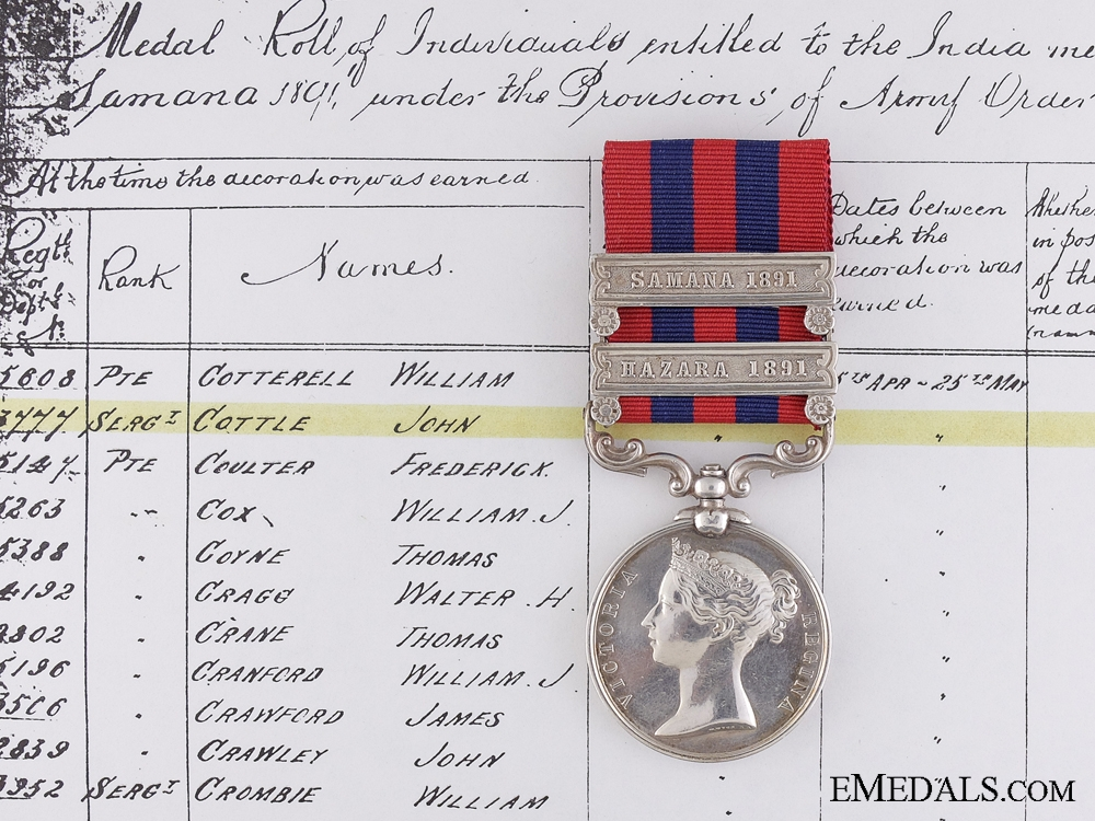 An 1854 India General Service Medal to a Canadian Sergeant